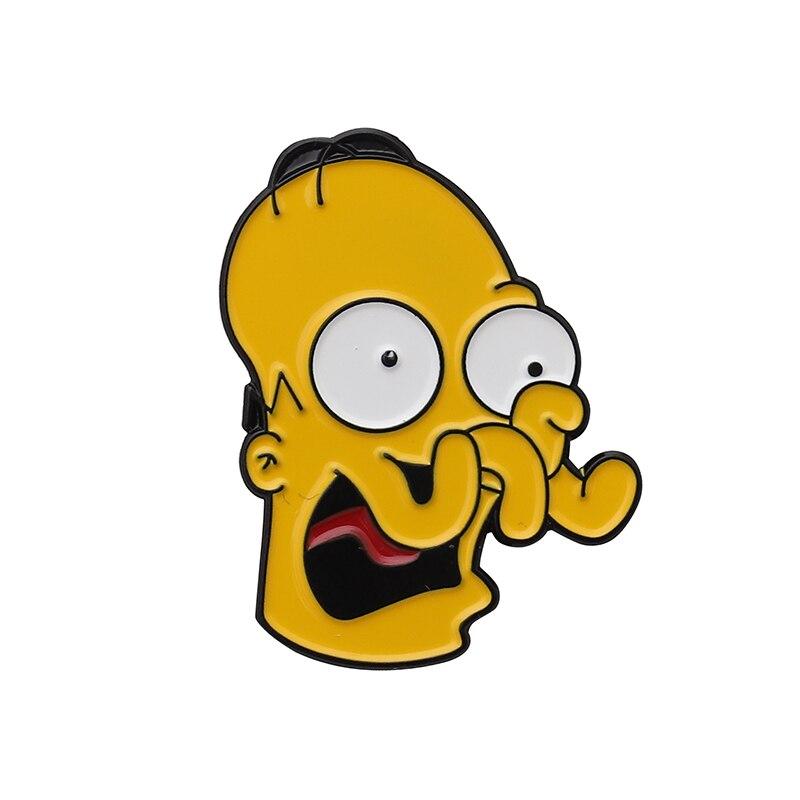Булавки Симпсоны пончик забавные дизайнерские броши значки Юмор мультфильм рюкзак с эмалевыми вставками булавки для любителей аниме подарки ювелирные изделия оптом - Окраска металла: Style 9