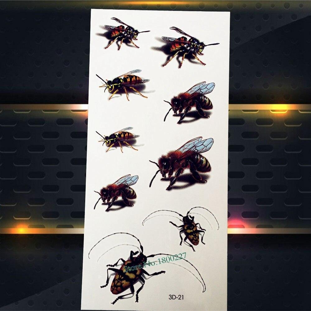 இ1 Adet 3d Sahte Fly Arılar Geçici Dövme çocuk Body Art Kol Yüz