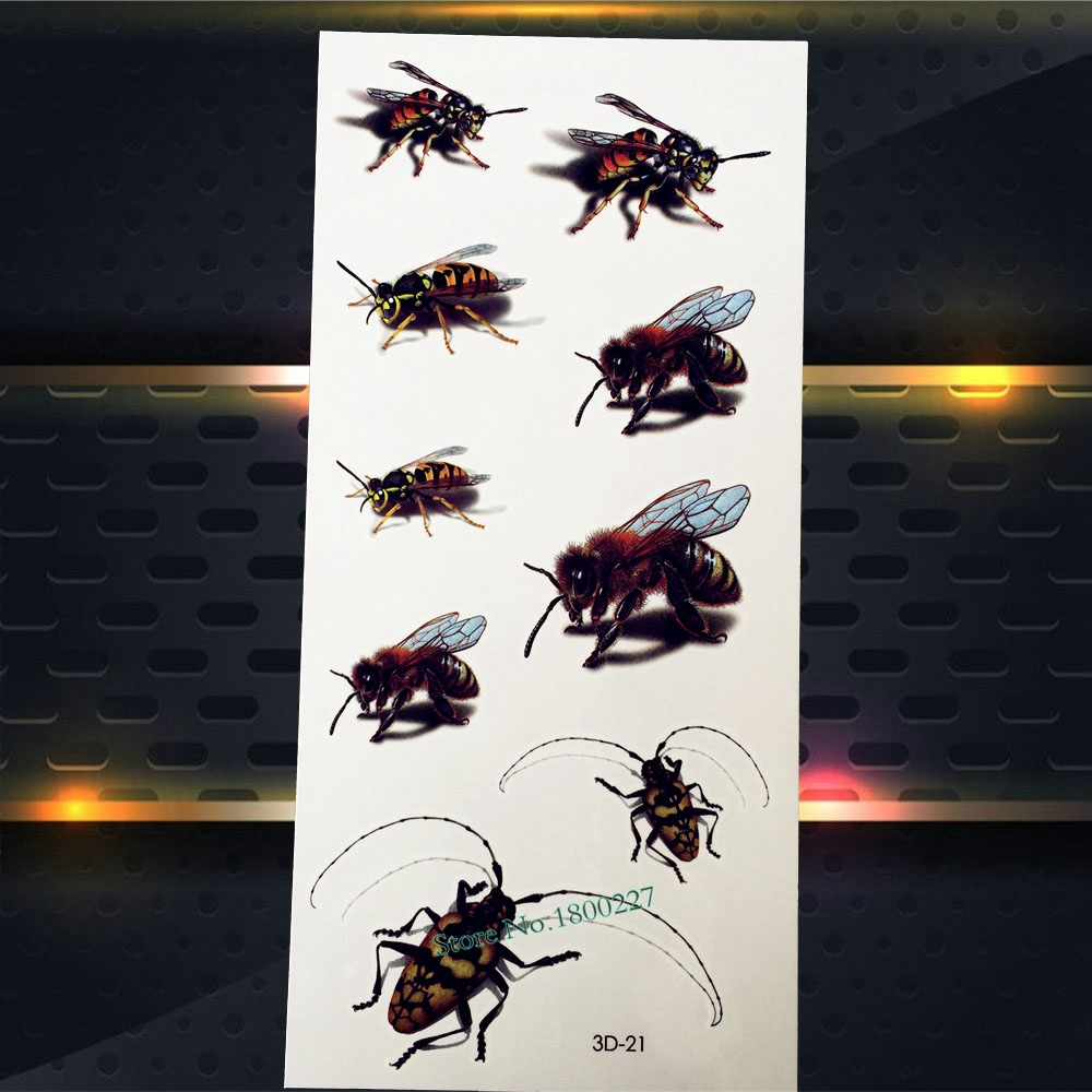 1PC 3D Fake Fly Bees Temporary Tattoo Children Body Art Arm Face Tattoo Stickers P3D-21 Insect Designs Flash Waterproof Tatoo