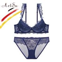 ArtSu Push Up Women S Underwear Set Lace Lingerie Underwire Bras And Panties Sexy Briefs Sets