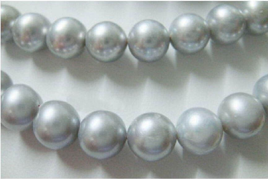 FREE shipping hot AAA 10-11mm genuine south sea silver gray pearl necklace 35 a()