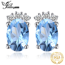 JewelryPalace Classic 1ct Oval Natural Sky Blue Topaz Stud Earrings Solid 925 Sterling Silver Fine Jewelry For Women Accessories цена в Москве и Питере