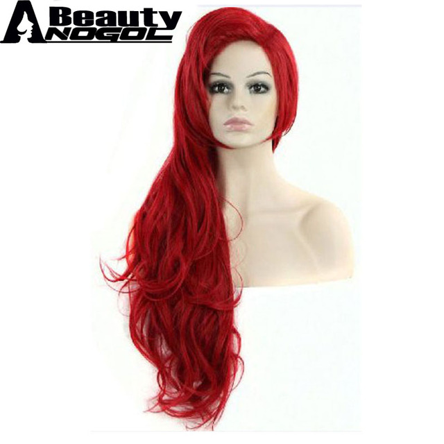 Anogol Beauty Hair Cap High Temperature Fiber Long Red Wavy Little