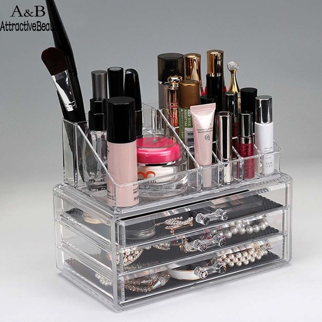 ACEVIVI Clear Acrylic 3 Drawers 12 Trapezoid Lipstick Makeup Display