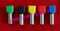 250 unids/lote TE2508 doble extremo de la cuerda terminal aislante 2*2.5mm2 cable casquillos 5 colores mezclados