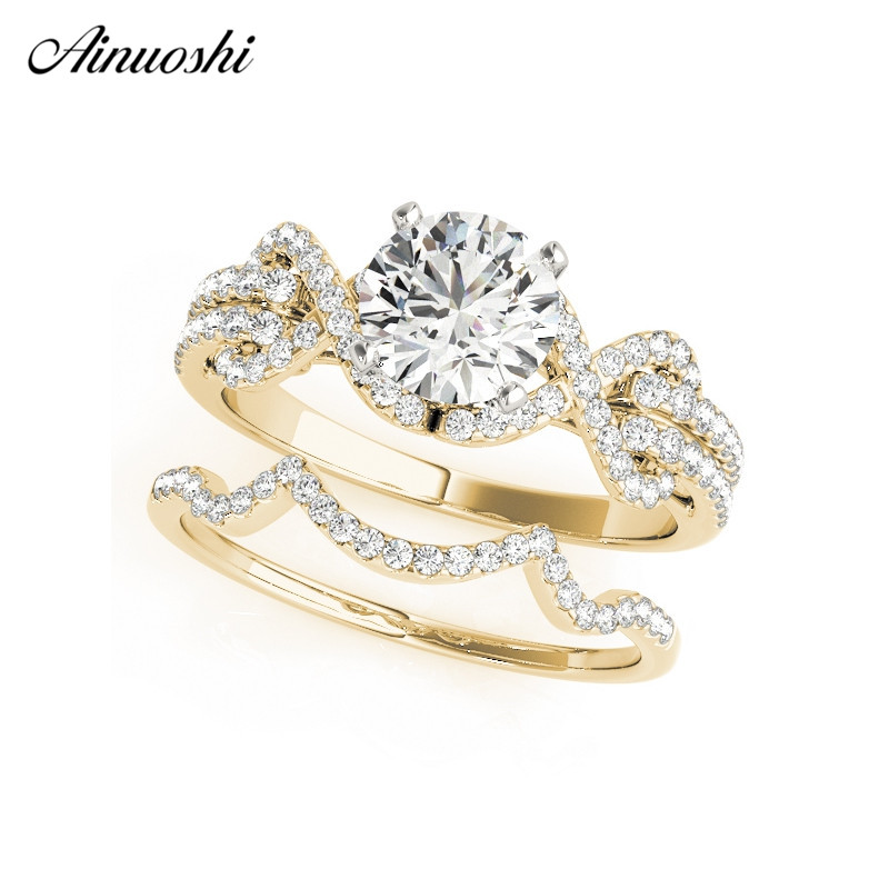 AINUOSHI Fashion 925 Sterling Silver Women Wedding Ring Set Yellow Gold Color 1ct Round Wave Princess Anniversary Rings Gifts 6pcs of stylish color glazed round rings for women