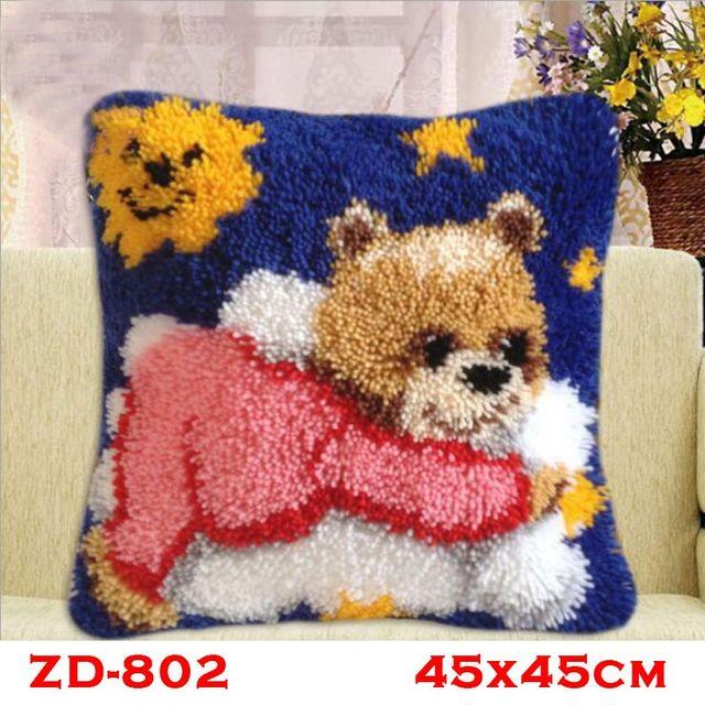 Pillow Latch Hook Rug Kits Kussen Knooppakket Tapestry Kit Crochet Animal Bear Needlework