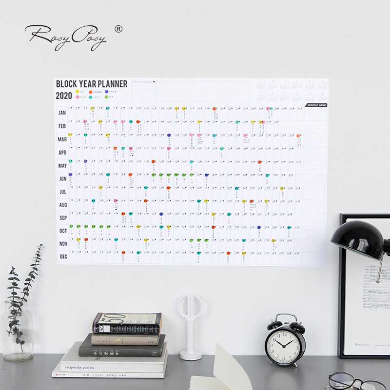 2019/2020 Yearly Calendar Year Planner Memo Organiser Annual Schedule Daily With Sticker Dots Wall Planner Stationery Office