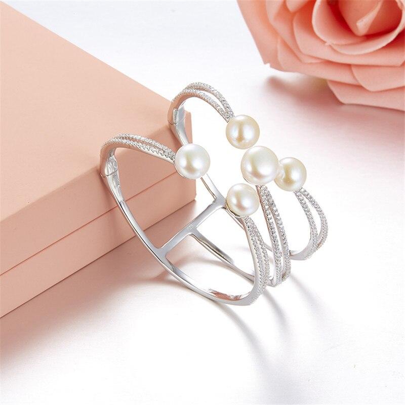 [MeiBaPJ] 925 argent Sterling naturel perle d'eau douce Bracelet manchette pour les femmes de mariage bijoux de fête charme Bracelet boîte-cadeau