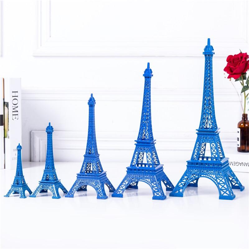 케이크 토퍼 에펠 탑 장식 순수한 파란색 컬러 타워 - 가정 장식