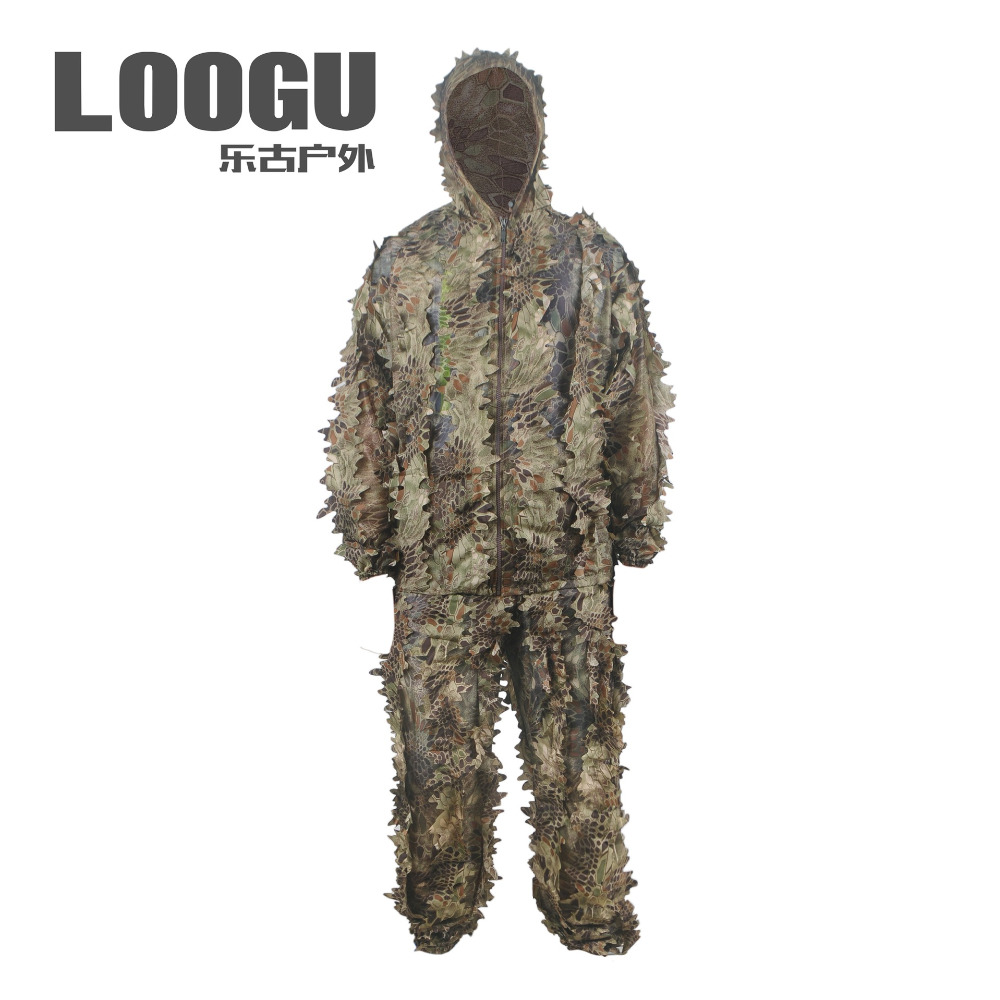 Outdoor Ghillie Suits Camouflage Military Hunting Cloth Woodland Hunting Outfit 3D Disguise Uniform Suits Set Sniper