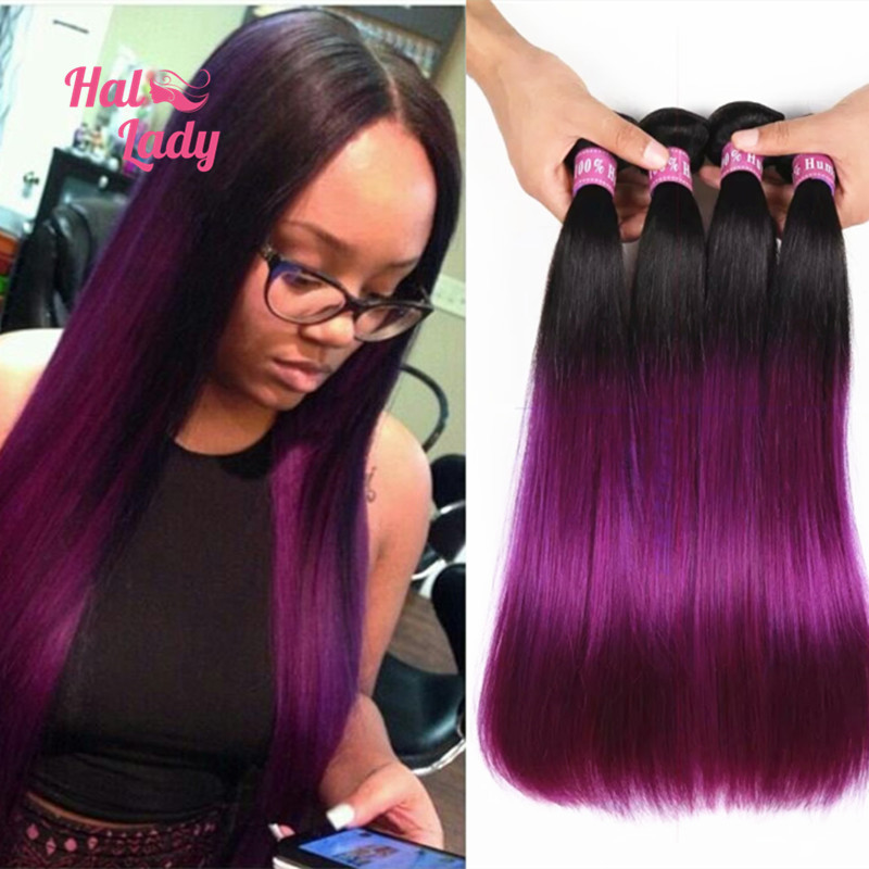 2 Tone Ombre Blue Human Hair Weave 7a Colored Brazilian Straight