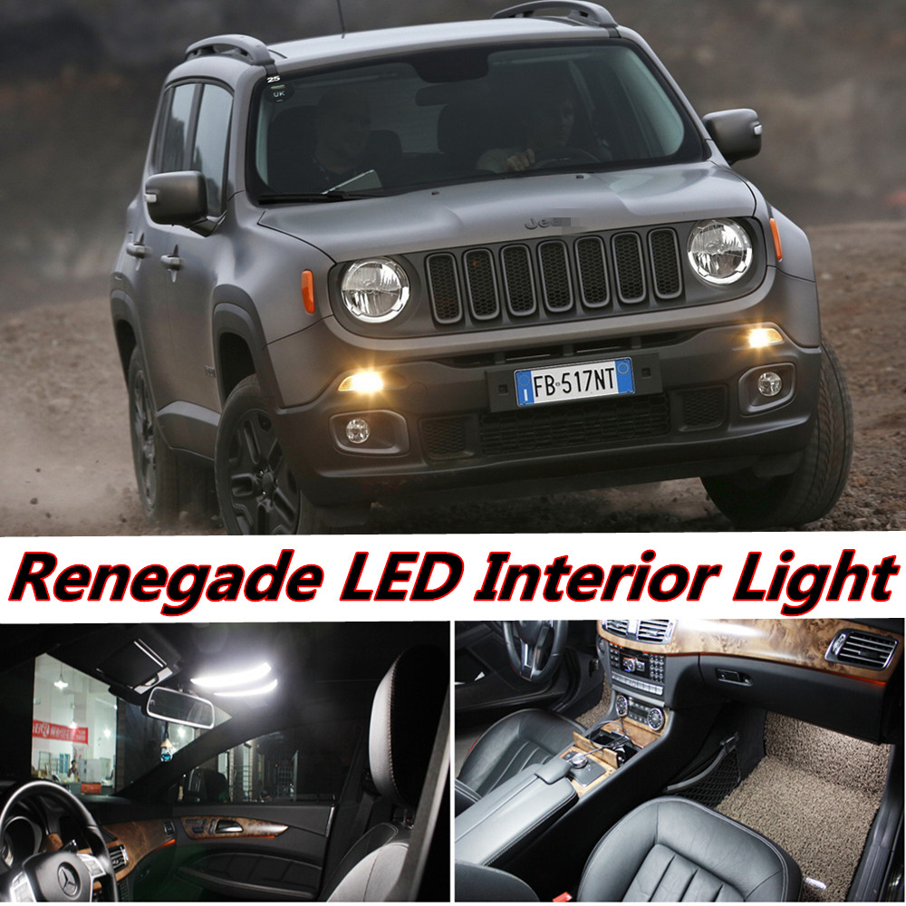 Tcart 6pcs Auto LED Bulb Error Free White Car Interior LED Light Kit T10 Truck Dome Lamp For Jeep Renegade accessories 2015-2016 10pcs led car interior bulb canbus error free t10 white 5730 8smd led 12v car side wedge light white lamp auto bulb car styling