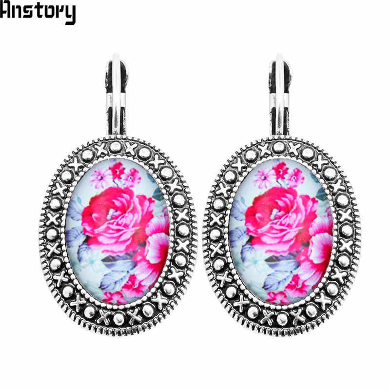 Oval Acrylic Rose Flower Earrings Vintage Pendant Earrings For Women Antique Silver Plated Fashion Jewelry TE445