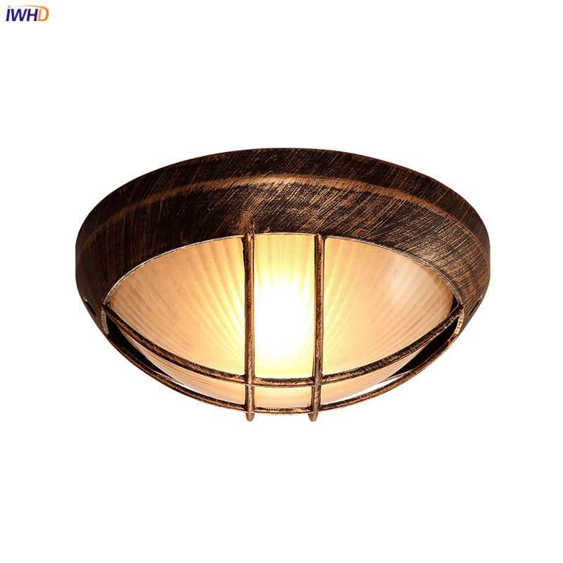 IWHD Round Retro Vintage LED Ceiling Lamp Kitchen Balcony Porch Corridor Loft Industrial Ceiling Lights Plafondlamp De Techo iwhd europe vintage glass led ceiling lights for kitchen hallway balcony copper ceiling lamp plafonnier led lamparas de techo
