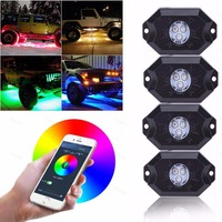 RGB LED Lights Rock Neon Kits Bluetooth Control Cell Phone Control Under Cars Off Road Truck SUV For Jeep Vehicle Boat Interior