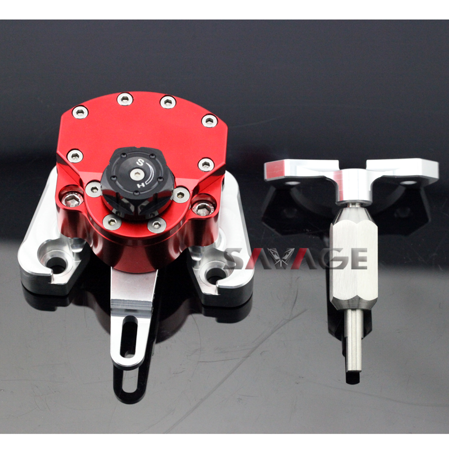 For DUCATI MONSTER 796 2010-2015 Red Motorcycle Reversed Safety Adjustable Steering Damper Stabilizer with Mount Bracket for ducati monster 696 2008 2014 black motorcycle reversed safety adjustable steering damper stabilizer with mount bracket