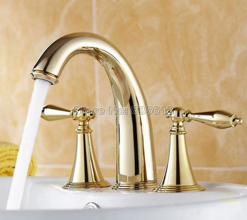 Luxury Gold Color Brass Three Hole Deck Mounted Widespread Bathroom Basin Sink Faucet Vessel Sink Dual Handles Mixer Taps Wnf237 antique brass bathroom basin faucet dual cross handles single hole deck mounted vessel sink gooseneck mixer taps wnf006