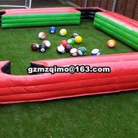 7.8x4.8m PVC inflatable snooker football pool Inflatable Snooker table(1 air blower+inflatable pool+16pcs snooker balls)