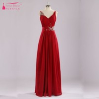 Sexy V Neck A Line Royal Red Long Chiffon Prom Dress with Crystal Simple Formal Evening Dresses
