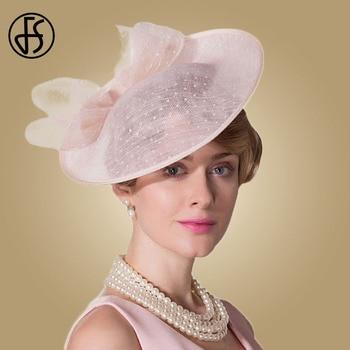 FS Fascinators For Women Elegant Pink Linen Pillbox Hat Royal Weddings Hats Ladies Sinamay Derby Dress Summer Cocktail Fedoras multi brimmed sinamay hat