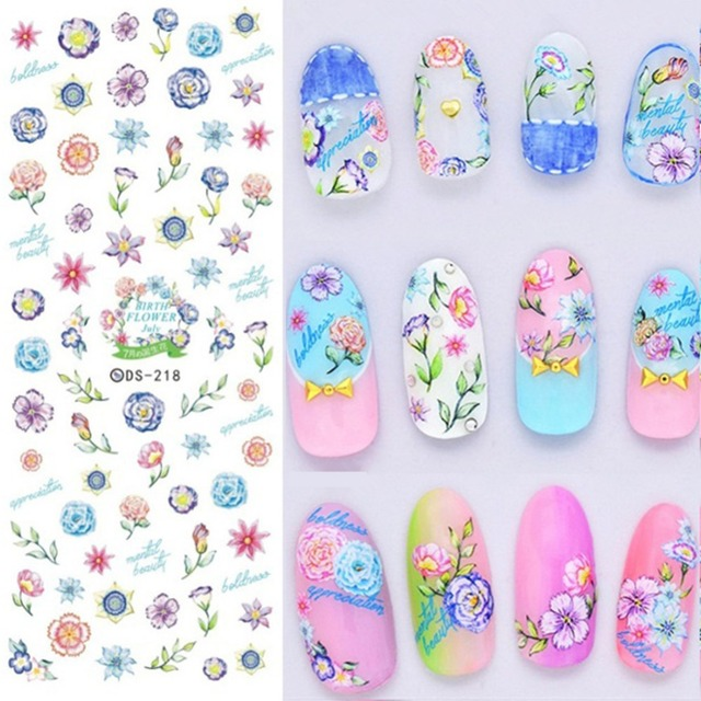 1 Sheet Flower Spring Nail Art Stickers Water Decals Transfer Stickers 2017 Nail  Design Sticker for - 1 Sheet Flower Spring Nail Art Stickers Water Decals Transfer