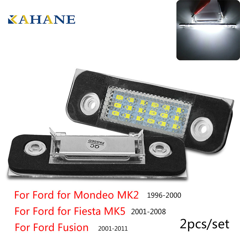 2Pcs For <font><b>Ford</b></font> <font><b>Fusion</b></font> for Mondeo/MK2 for Fiesta MK5 Accessories Car License Plate Light White Number Plate Lamps Light image