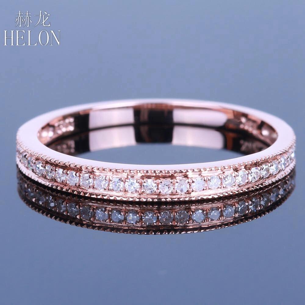 HÉLON Solide 14 K Or Rose Diamants Band MILGRAIN Diamants Naturels De Fiançailles De Mariage Bague de Femmes Pavent