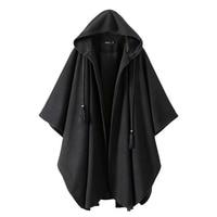 Vintage Gothic Black Hooded Cape Poncho Women Loose Cloak Ponchos Coat Cardigan Trench Open Fringe Hooded Wraps Capas Autumn