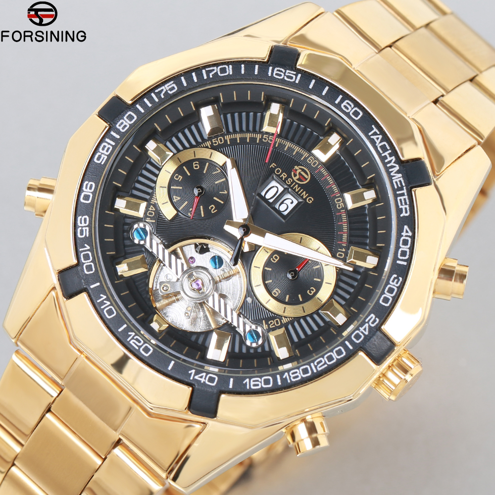 Mens bayan kol saati Top Luxury Brand Forsining Men Tourbillon Watch Automatic Mechanical Men Gold Wrist Watch Relogio Masculino forsining full calendar tourbillon auto mechanical mens watches top brand luxury wrist watch men erkek kol saati montre homme