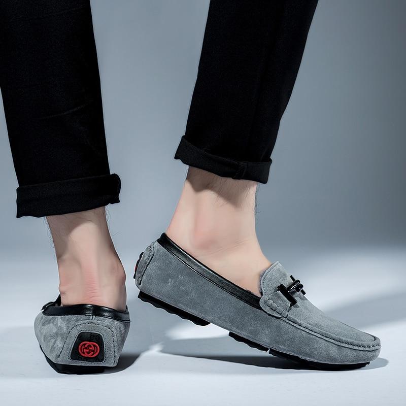 Hommes Confortable Taille Mode Peluche 46 De Mocassins Cuir Hiver Véritable Sur Plus gray Chaussures Bateau La Casual Glissement Chaud Black En Conduite 39 6q8p8Unwt
