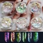 1 box DIY lucency Chameleon 3D Flakes Sequins Nail Glitter Powder Dust Mirror Chrome Pigment Nail Art Sheets Decorations