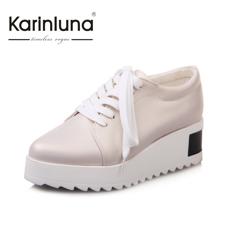 KARINLUNA fashion 2017 big size 31 43 platform wedges med heels casual woman vulcanize shoes comfortable
