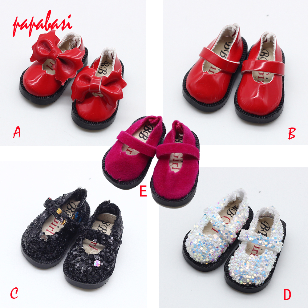1 Pair Bowknot PU & Cloth Shoes For BJD Blyth 1/6 1/8 Doll Shoes Sandals Size 3.2cm