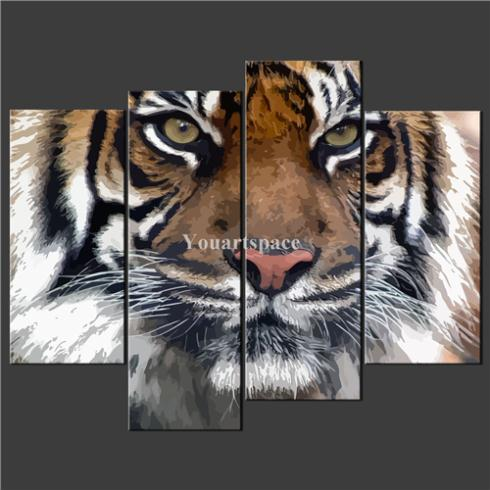4 Piece Wall Art Painting Pictures Print Canvas Abstract Tiger Cascade Picture Home Modern Decoration Oil - Youartspace store