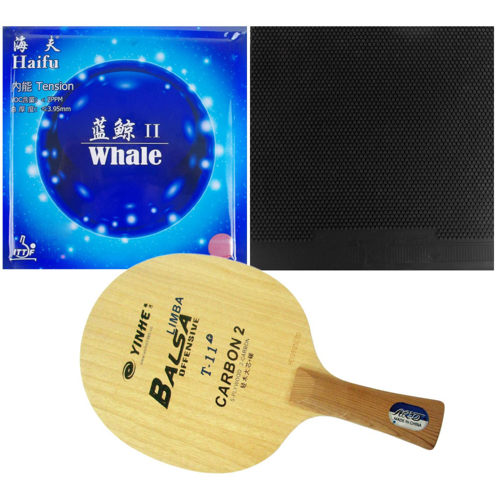 Pro Table Tennis PingPong Combo Racket Galaxy YINHE T-11+ with Dawei 388C-1 and Haifu Whale II Factory Tuned Long shakehand FL galaxy milky way yinhe v 15 venus 15 off table tennis blade for pingpong racket