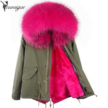 YOUMIGUE Army Green black New big raccoon fur hood winter jacket women parka natural real fur coat for women thick soft lining