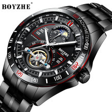 BOYZHE Watch Men Luxury Waterproof Moon Phase Mechanical Automatic Perspective Tourbillon Fashion Business Watch Men Casual все цены
