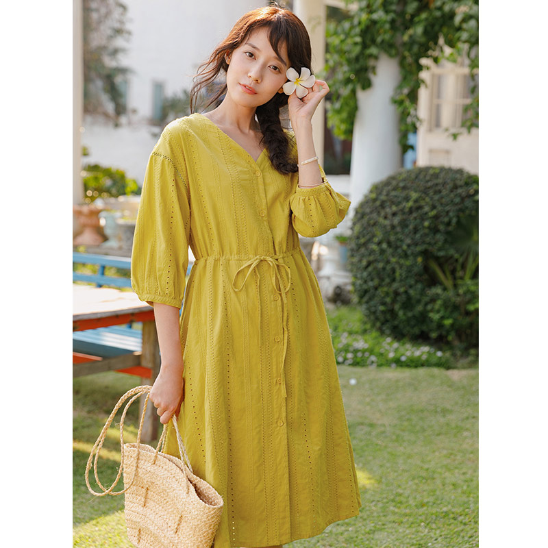 INMAN 2019 Summer Pack New And Fresh Artistic Embroidery V Neckline Three Quarter Sleeve Dress