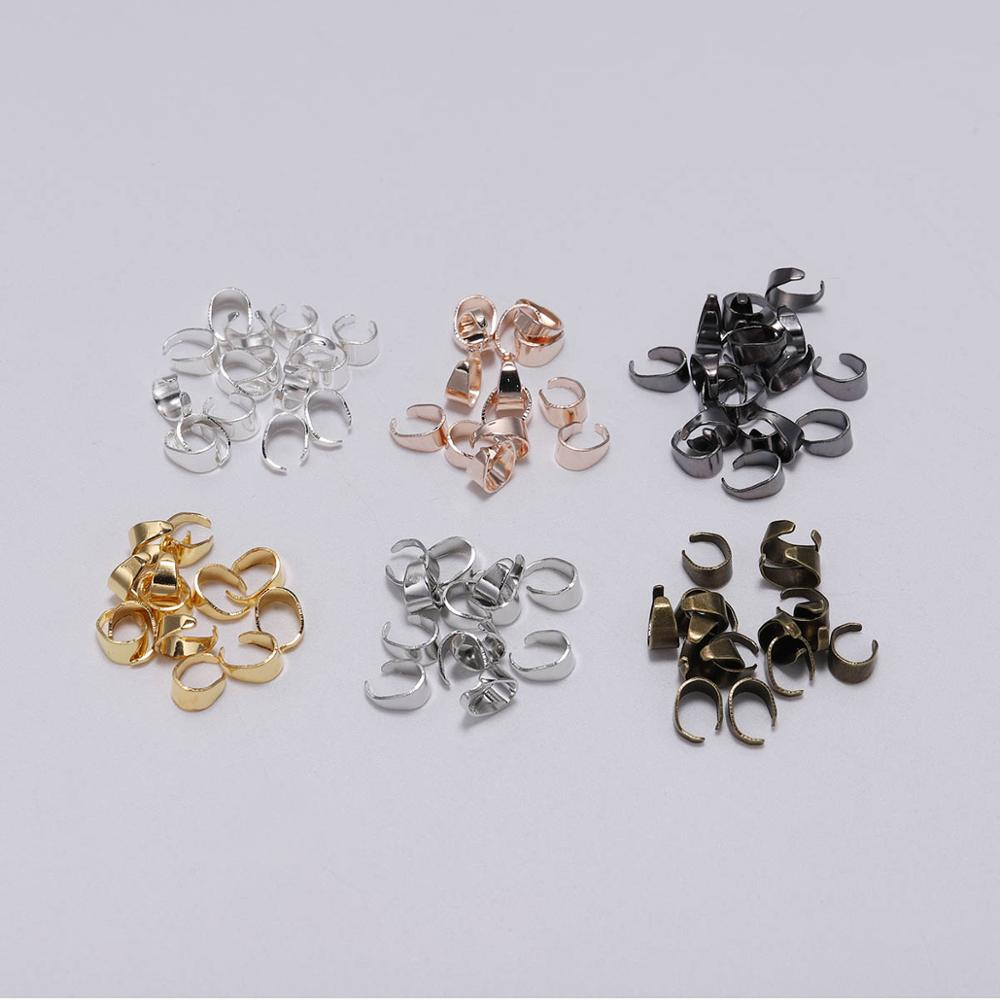 50pcs Pendant Clasps Hook Clips Pinch Bails Bail Bead Necklace Pendants Connectors For Jewelry Making Findings Connector DIY