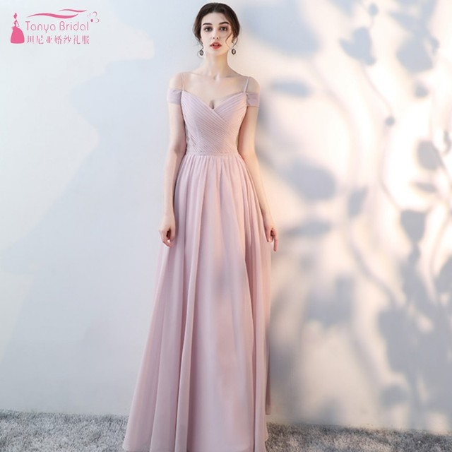 Long Chiffon Bridesmaid Dresses 2019 Off The Shoulder Sweetheart A Line Lace Up Wedding Party Dress For Women Prom Wear JQ75-1