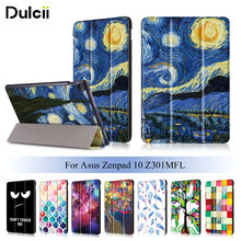 Dulcii For Asus Zenpad 10 Z301MFL Foldable Tri-fold Stand Printing Leather Tablet Folio Cover For Asus Zenpad Starry Night Oil