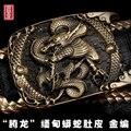 3d carving dragão suave cinto de couro fivela de latão boa pele