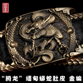 3d carving dragon smooth brass buckle boa skin leather belt