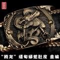 3d dragón tallado smooth hebilla de latón boa de piel de cuero de la correa