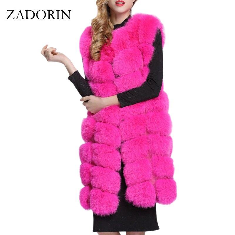 ZADORIN 90cm Luxury Women Faux Fur Jackets Sleeveless Slim Long Faux Fur Vest Gilet Furry Warm Winter Overcoat Women Plus Size