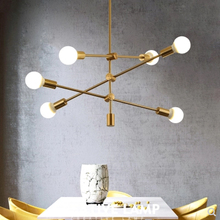 Nordic simple chandelier modern glass gold tube hanging home decoration E27 LED bulb magic beans living room lighting lamp simple post modern luxury gold plated glass ball chandelier for living room dining room decoration led e27 lighting 8 heads lamp