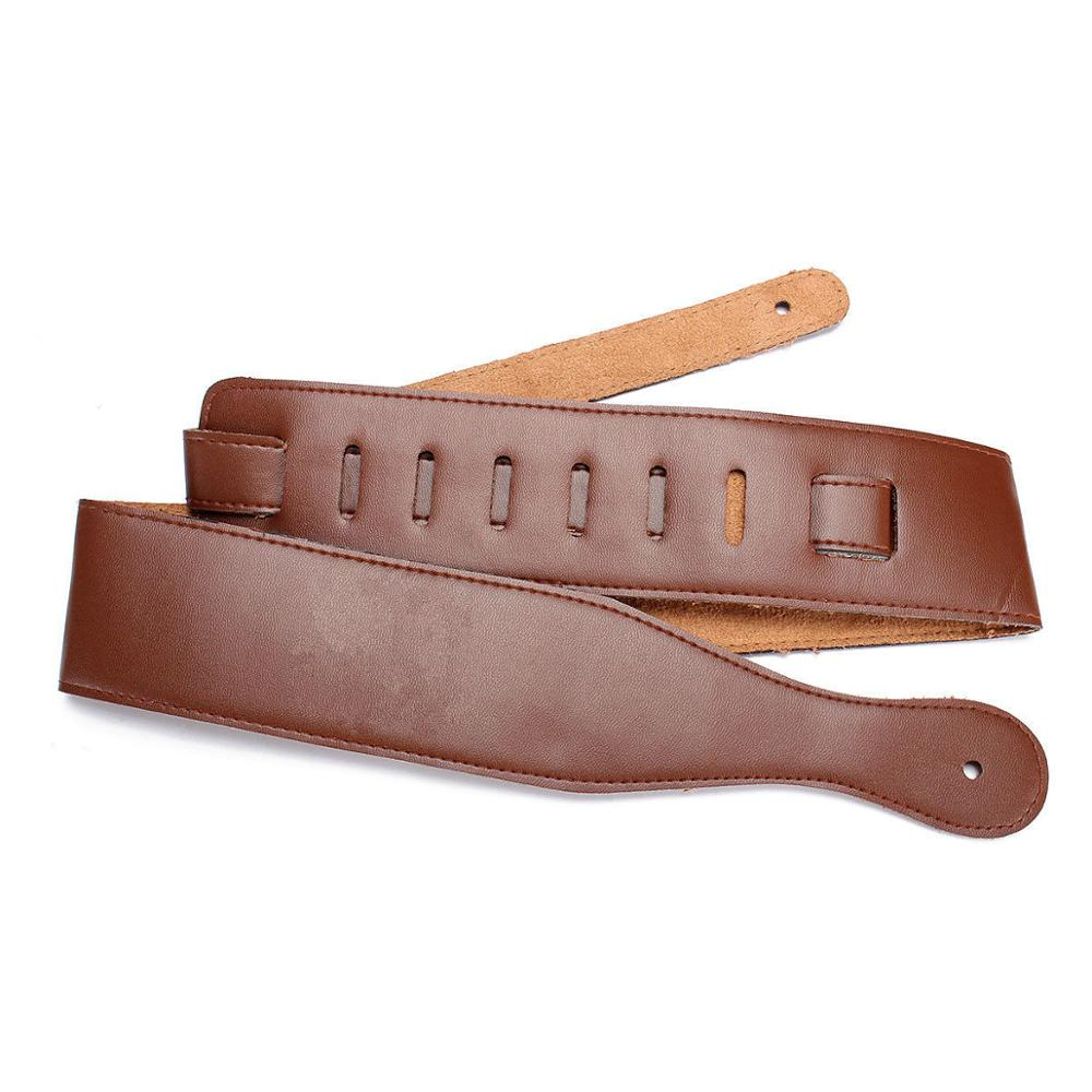 Adjustable Soft Leather Guitar Strap Belt For Electric Acoustic Thick Guitar Bass Brown Black
