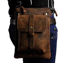 Men Crazy Horse/Oil Wax Cowhide Shoulder Messenger Bag Cell Phone Case Travel Hip Bum Belt Cross Body Genuine Leather Waist Bag - DISCOUNT ITEM  30% OFF Luggage & Bags