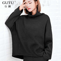 GUTU 2017 Autumn Winter New Pattern Korean Solid Color High Collar Bat Sleeve Pullover Knitted